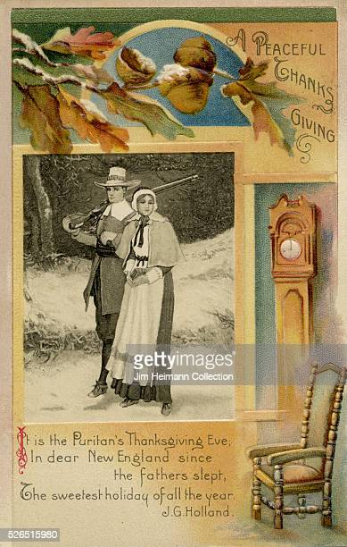 Illustration for a Thanksgiving postcard featuring a pilgrim couple standing outside during winter