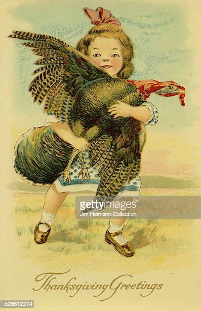 Illustration for a Thanksgiving postcard featuring a young girl holding onto a wild turkey