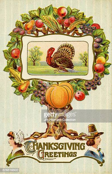 Illustration for a Thanksgiving postcard featuring a young man and woman a fruit tree and a turkey