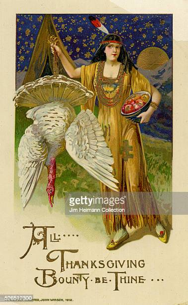 Illustration for a Thanksgiving postcard featuring an American Indian woman with a feather in her hair holding a turkey