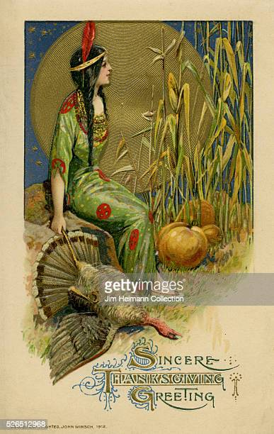 Illustration for a Thanksgiving postcard featuring an Indian woman sitting on a rock alongside pumpkins and a dead turkey