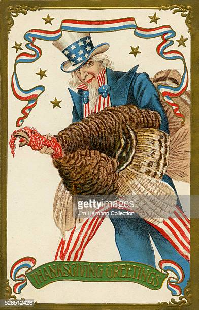 Illustration for a Thanksgiving postcard featuring Uncle Sam holding turkey