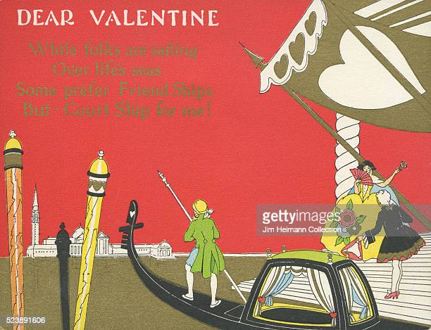 Illustration for a Valentine's Day card featuring a stylized depiction of a courtship between a man and woman