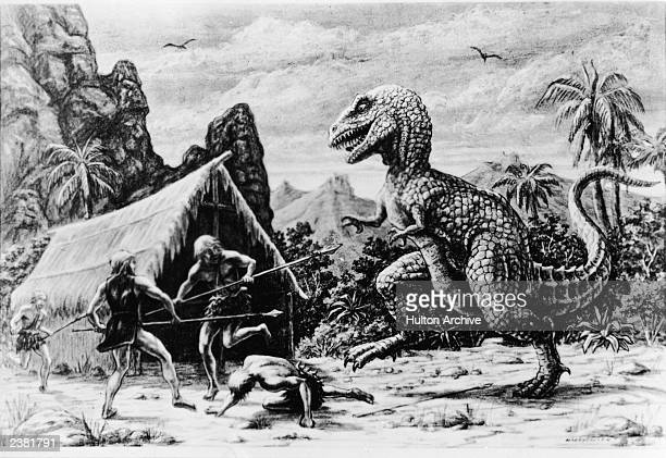 Illustration for an unidentified Ray Harryhausen film showing a dinosaur attacking a group of cavemen outside of a tent circa 1965