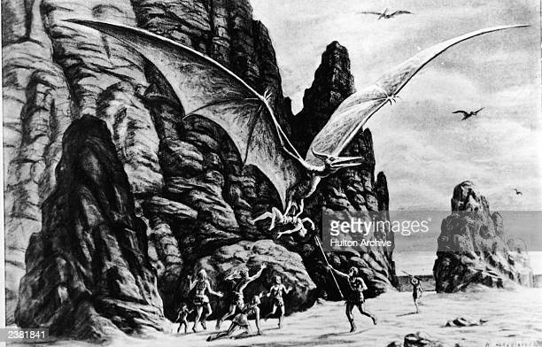 Illustration for an unidentified Ray Harryhausen film showing a winged dinosaur dragging away a caveman while group of cavemen attack with spears...