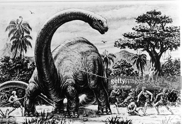 Illustration for an unidentified Ray Harryhausen film showing a group of cavemen attacking a dinosaur with spears circa 1965