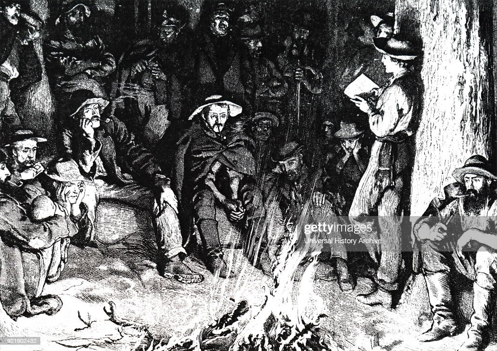 Illustration for Bret Harte's poem 'Little Nell' depicting a group of men listening to 'The old Curiosity Shop' whilst sitting around a camp fire. Bret Harte (1836-1902) an American short story writer and poet. Dated 19th century.