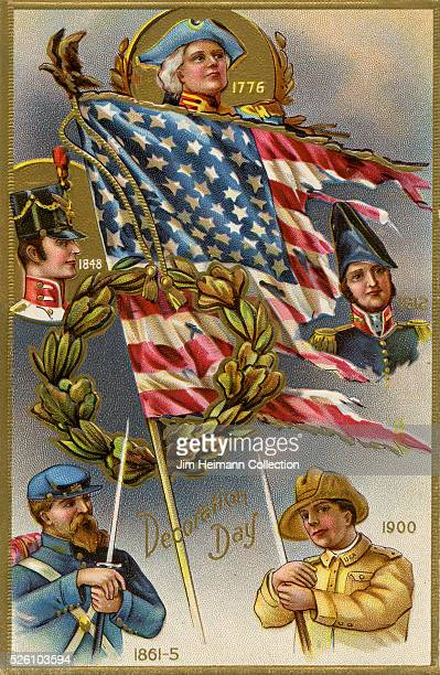 Illustration for Decoration Day postcard featuring images of soldiers from American history and tattered American flag