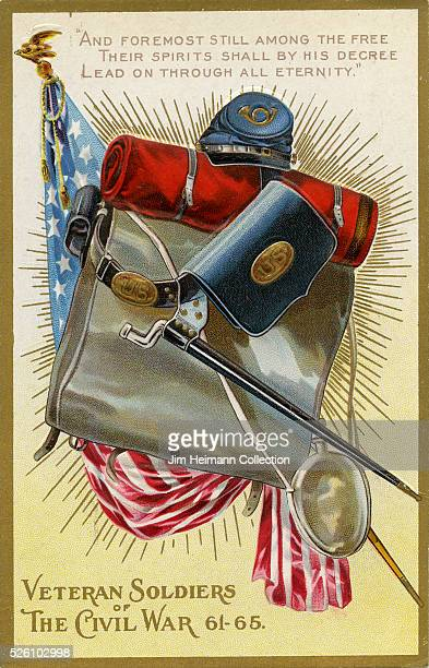 Illustration for Decoration Day postcard from 1910s featuring items carried by Union soldier in Civil War