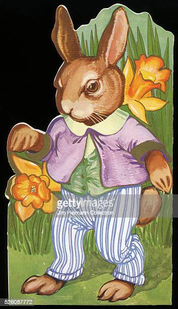 Illustration for diecut 1930s Easter greeting card featuring well dressed rabbit