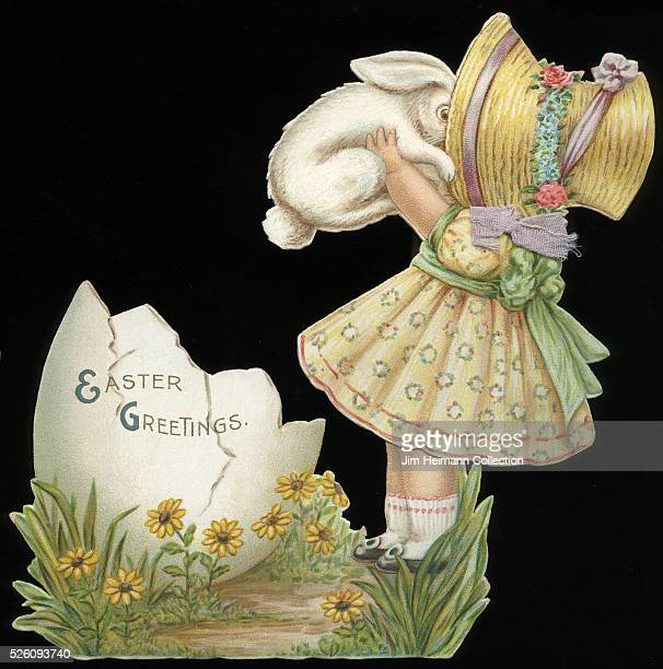 Illustration for diecut Easter greeting card featuring young girl holding white rabbit Egg shell nearby