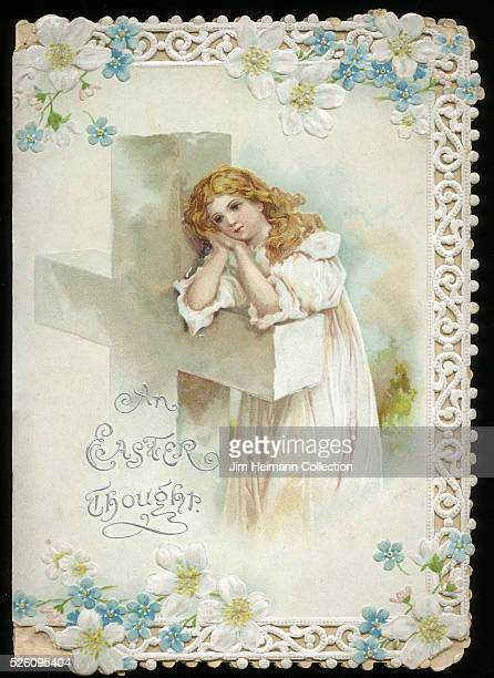 Illustration for diecut Easter greeting card featuring young woman leaning on crucifix day dreaming