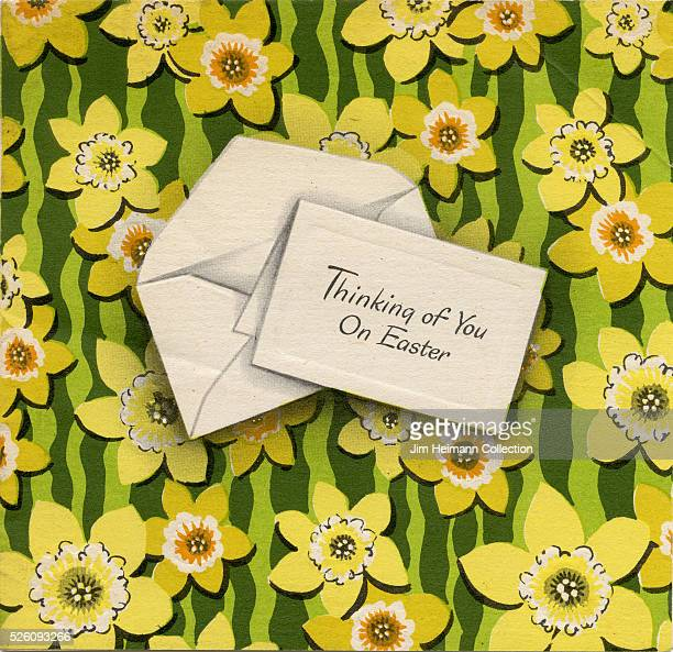 Illustration for Easter greeting card featuring letter and and envelope against floral background