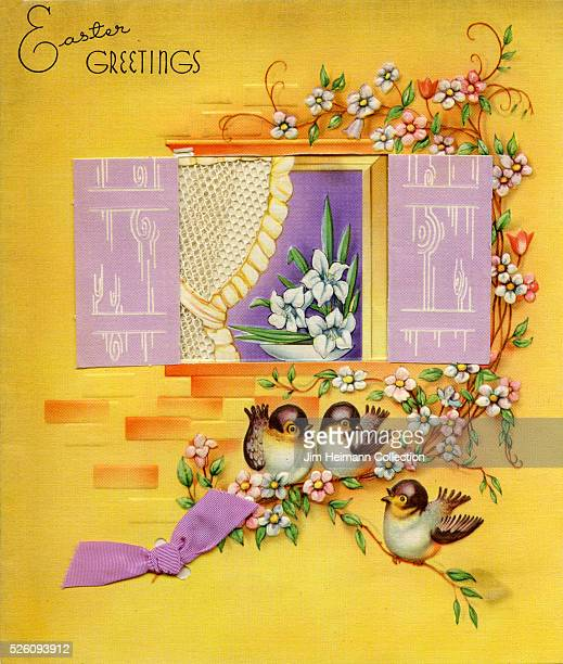 Illustration for Easter greeting card featuring three birds perched on branch of flowers outside window with shutters