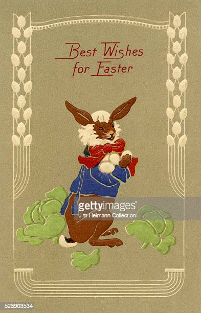 Illustration for Easter postcard featuring bearded brown rabbit holding eggs