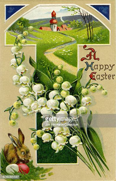 Illustration for Easter postcard featuring brown rabbit and scenic view of field with path leading to church in distance