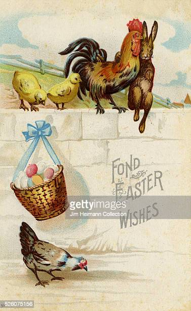 Illustration for Easter postcard featuring brown rabbit sitting with family of chickens