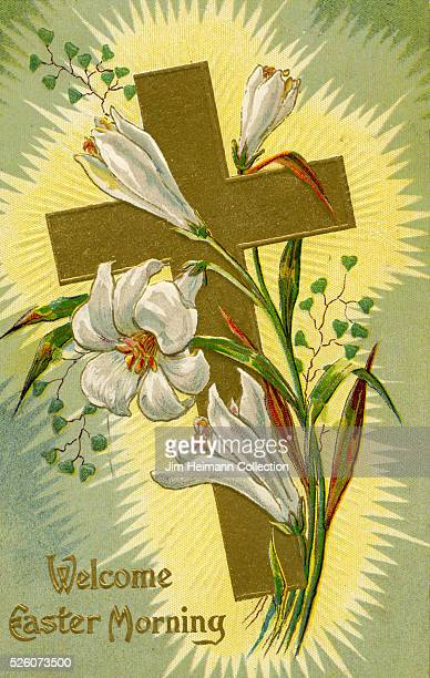 Illustration for Easter postcard featuring crucifix and white lilies