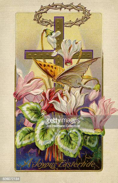 Illustration for Easter postcard featuring crucifix crown of thorns lilies and butterfly