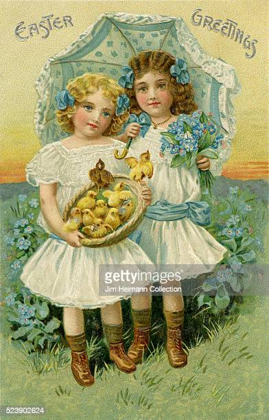 Illustration for Easter postcard featuring two young girls with basket of baby chickens and parasol