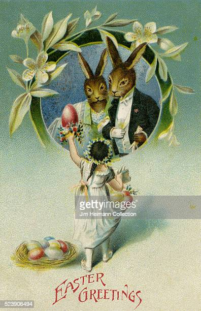 Illustration for Easter postcard featuring young girl handing Easter eggs to pair of rabbits