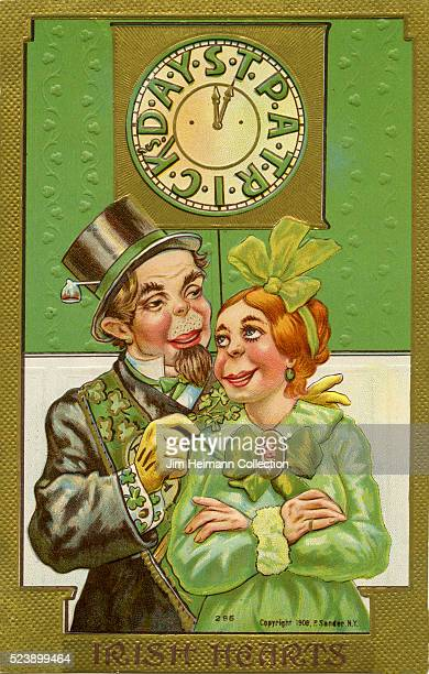 Illustration for Saint Patrick's Day postcard featuring man and woman dressed in green standing in front of clock