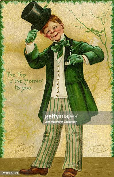 Illustration for Saint Patrick's Day postcard featuring red haired young man dressed in green and tipping his hat