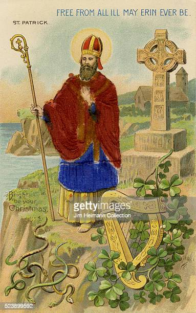 Illustration for Saint Patrick's Day postcard featuring Saint Patrick holding staff and standing on cliff side Harp serpents shamrocks and religious...