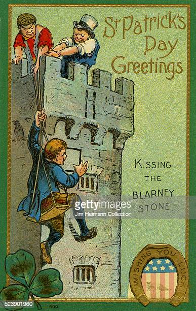 Illustration for Saint Patrick's Day postcard featuring two men lifting another man by rope up the side of Blarney Castle to kiss the Blarney Stone