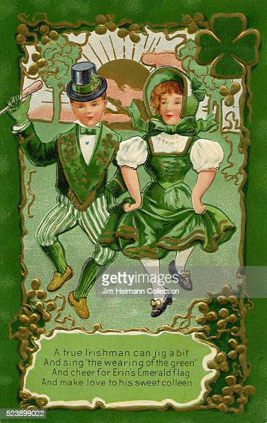 Illustration for Saint Patrick's Day postcard featuring young girl and boy dressed in green dancing the jig Shamrock in background