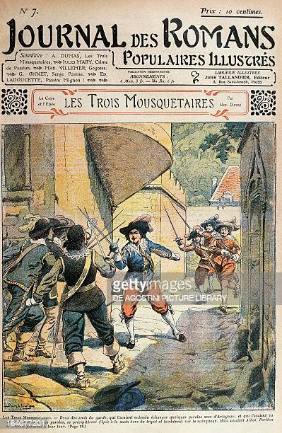 Illustration for The Three Musketeers by Alexandre Dumas taken from the Journal des romans populaires illustres 1844