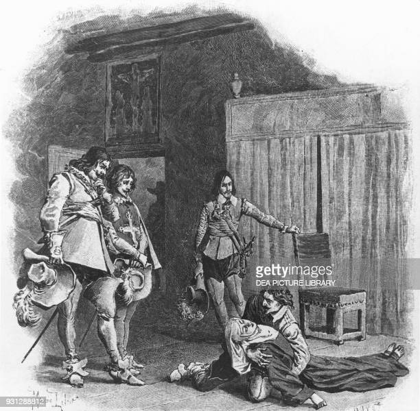 Illustration for The Three Musketeers novel by Alexandre Dumas and Auguste Maquet engraving after a drawing by Maurice Leloir published by...