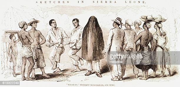 Illustration from 1856 showing a 'EggGuGu' a wandering necromancer with music from Sierra Leone