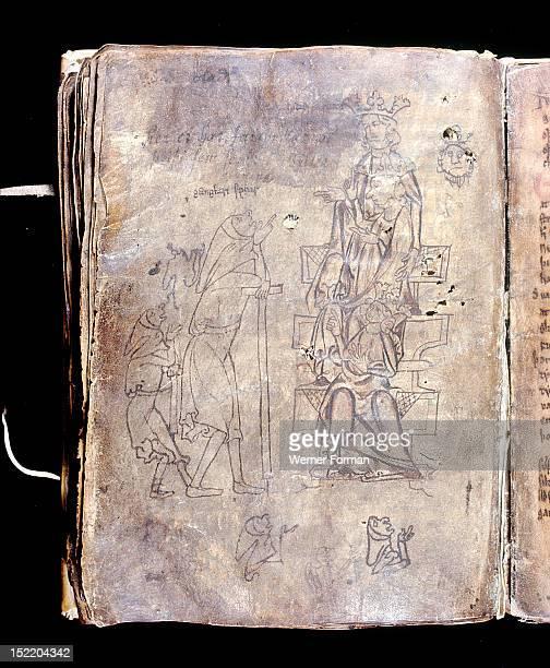 Illustration from a 14th century manuscript of Snorri Sturlusons Prose Edda The legendary Swedish king Gylfi disguised as Gangleri questions Odin in...