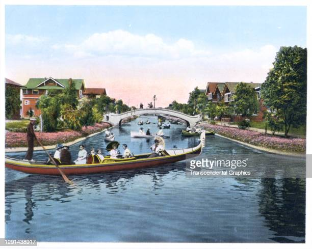 Illustration, from a souvenir album of Southern California scenes, shows a passengers on a gondola in a Venice canal, California, 1907.