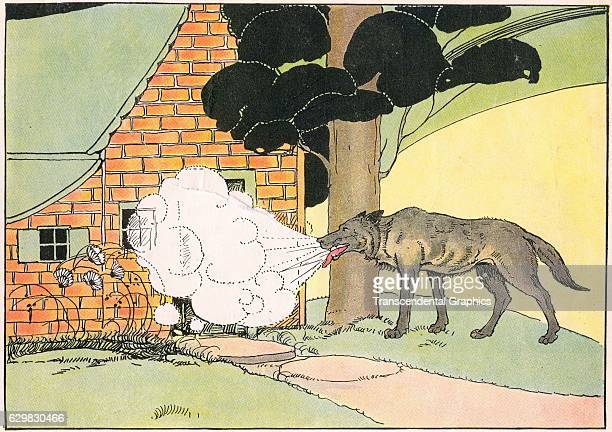 Illustration from an unidentified children's book features a wolf as it arrempts to blow down at brick house from the 'Three Little Pigs' story 1927