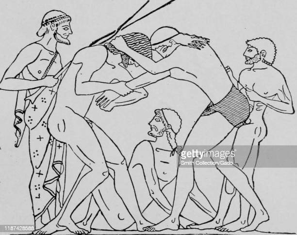 Illustration from ancient Greece of wrestlers participating in a sporting event such as the Olympic Games 1910 Courtesy Internet Archive