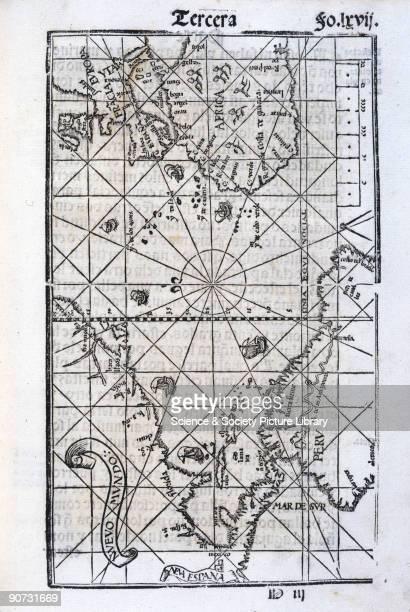 Illustration from 'Breve compendio de la sphera y de la arte de navegar' by Martin Cortes showing the �New World� of the Americas This continent was...