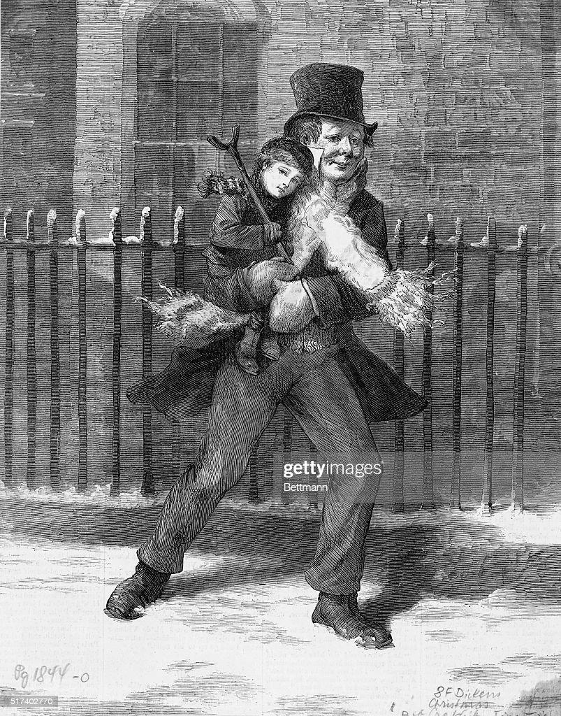 Tiny Tim Christmas Carol.Illustration From Charles Dickens A Christmas Carol Bob