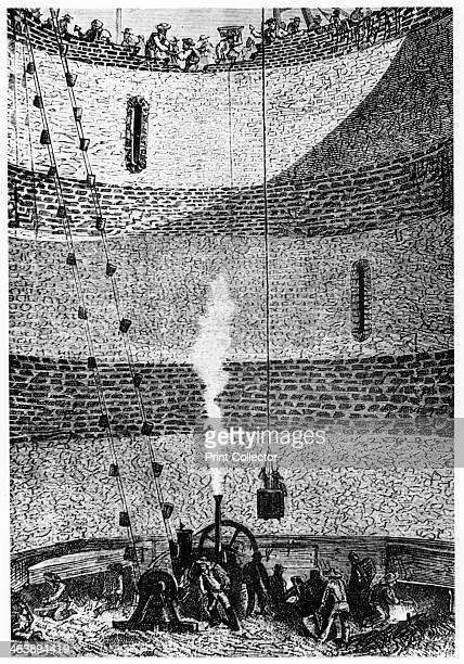 Illustration from De la Terre a la Lune by Jules Verne 1865 Excavating and lining the pit for casting the great gun for launching the space craft...