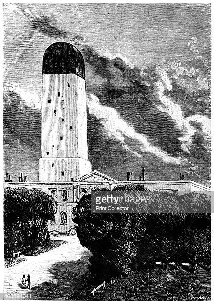 Illustration from De la Terre a la Lune by Jules Verne 1865 Astronomical observatory at Cambridge Massachusetts The Director observed the launch of...