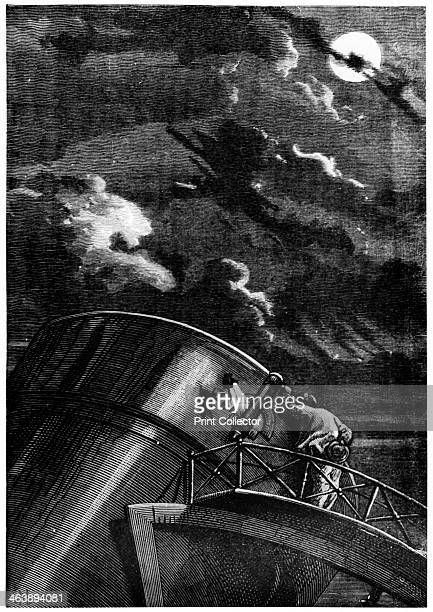 Illustration from De la Terre a la Lune by Jules Verne 1865 The director of Cambridge Observatory Massachusetts using the observatory's reflecting...