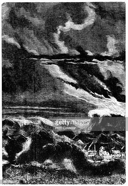 Illustration from De la Terre a la Lune by Jules Verne 1865 Tidal wave caused by the launch of the space capsule 'Columbiad' From De la Terre a la...