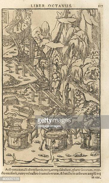 Illustration from De re metallica libri XII by Georgius Agricola 1556 Private Collection Artist Anonymous