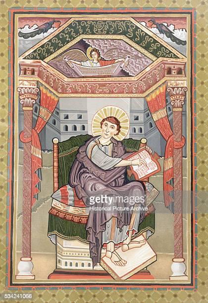 Illustration from Early Manuscript Depicting Saint Matthew from Harley Golden Gospels