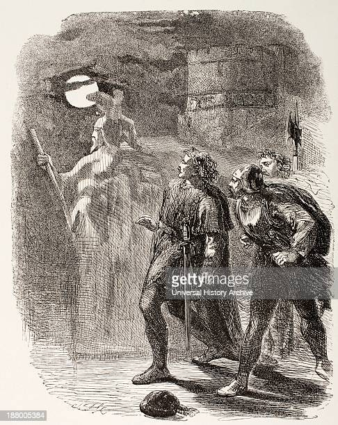 Illustration From Hamlet By William Shakespeare Hamlet Horatio And Marcellus See The Ghost From The Illustrated Library Shakspeare Published London...