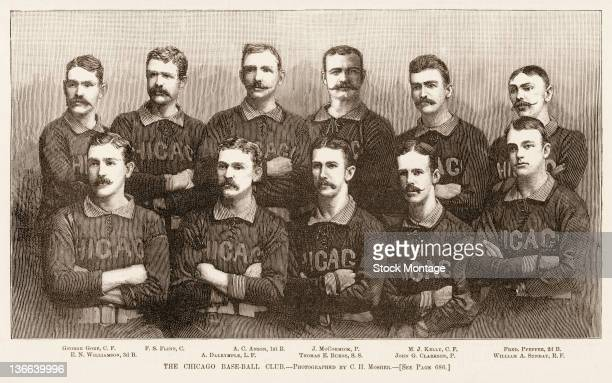 Illustration from Harper's Weekly is a team portrait of the Chicago White Stockings baseball team 1885 The team the National League champions are top...