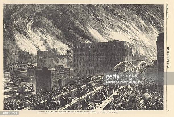 Illustration from Harper's Weekly of people fleeing over the Randolph Street bridge during the Great Chicago Fire, Chicago, Illinois, October 28,...