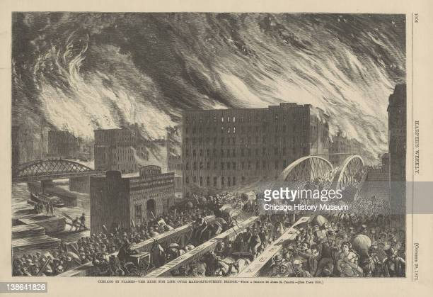 Illustration from Harper's Weekly of people on the Randolph Street bridge during the Great Chicago Fire Chicago Illinois October 28 1871