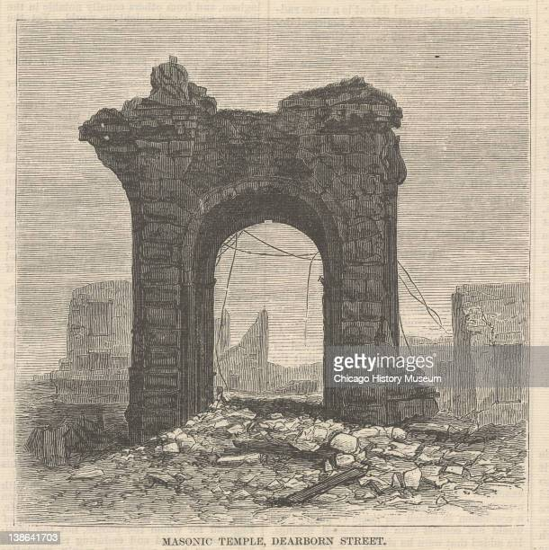 Illustration from Harper's Weekly of the ruins of the Masonic Temple after the Great Chicago Fire, Chicago, Illinois, November 10, 1871.